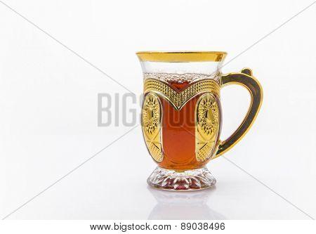 An ornamental cup of sulemani tea - an arabic black tea.