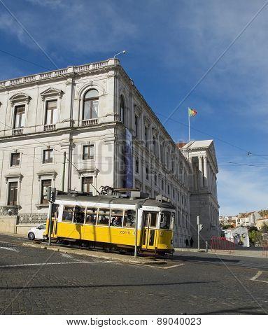 Lisbon Parliament And Tram In Bairro Alto District, Lisbon.