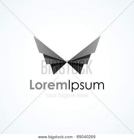 Black geometric wings bird element icons business logo