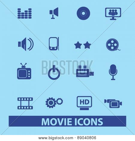 movie, media, cinema icons, signs, illustrations set, vector