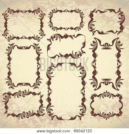 Set of 9 decorative, vintage frames on aged background. Vector illustration for your design.