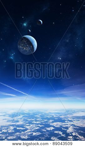 Illustration of an alien planet viewed from a high altitude with moons and stars in the sky. The planetary surface in the foreground is a photo. poster