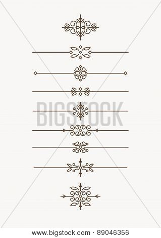 Set of 9 elegant, in mono line style text dividers - decorative elements. Vector illustration for yo