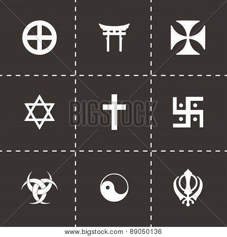 Vector religious symbols icon set on black background poster