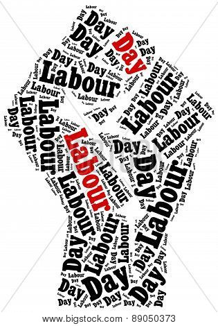 Word cloud illustration related to Labour Day celebrated on May 1st. poster