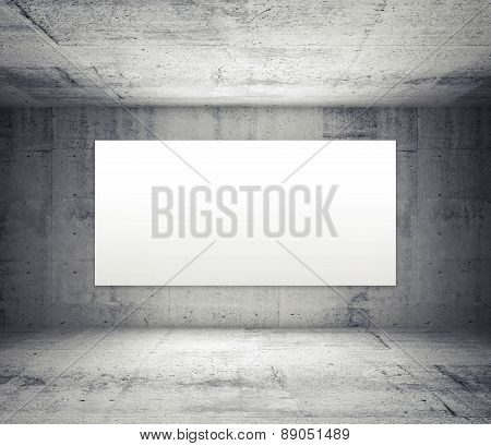 Empty Room With Concrete Walls And Illuminated Wide White Screen, 3D