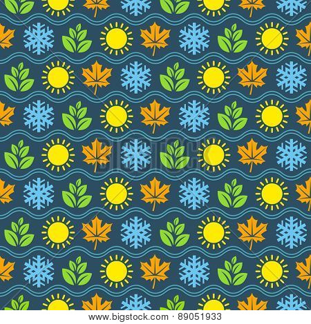 Seamless wallpaper pattern with seasons icons. Vector illustration