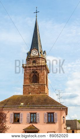 Belfry Of A Church In Bergheim - France