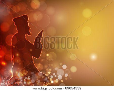 Islamic holy month of prayer, Ramadan Kareem celebration with illustration of islamic man reading Namaaz, made by neon light on shiny colorful background.