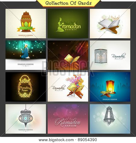 Holy month of Muslim community, Ramadan Kareem celebration cards decorated with different Islamic elements.