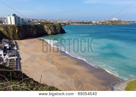 Newquay beach of Tolcarne North Cornwall UK one of many beautiful beaches in North Cornwall in sprin