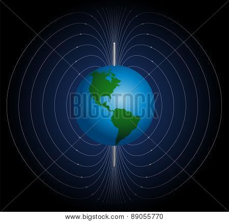 Terrestrial magnetic field around planet earth. Vector illustration on blue to black gradient background. poster