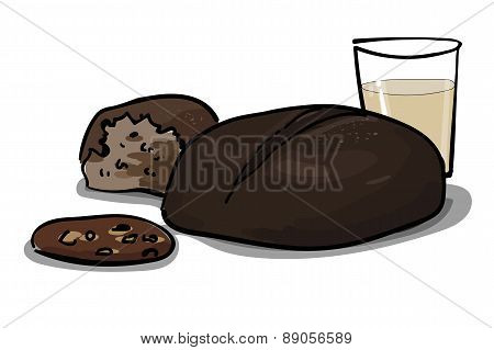 Whole Wheat And Rye Bread With Milk, Healthy Cereals, Vector