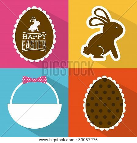 happy easter over colors background vector illustration