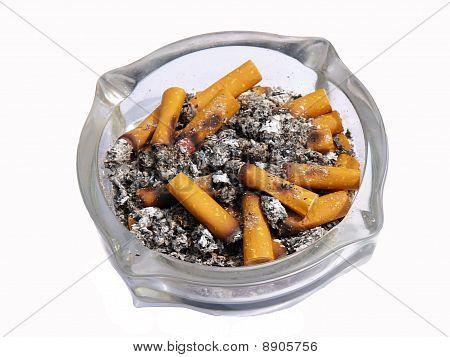 Ashtray full of cigarette in white background