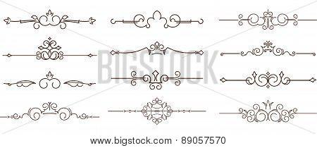 Set Of Dozen Decorative Text Dividers.