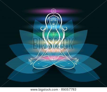 Yoga meditation woman lotus silhouette