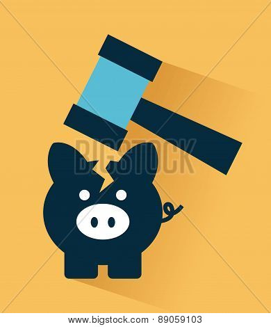 tax icon over orange  background vector illustration