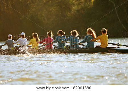 Women's College Crew Team Rows On Atlanta River
