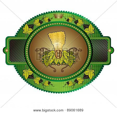 oval banner or label with grain stock and hop