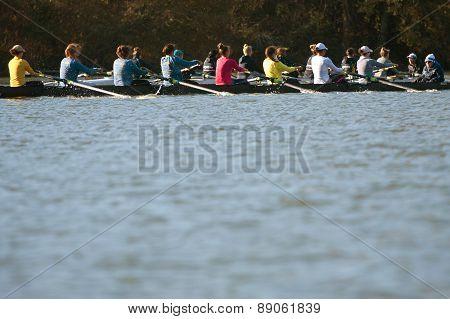 Women's College Crew Teams Compete Along Atlanta River