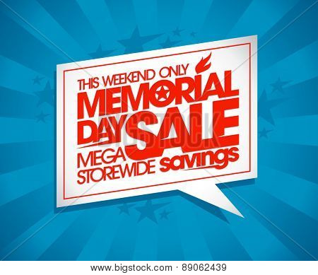 Memorial day sale design with speech bubble and rays.
