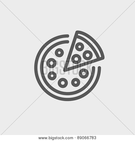 Whole pizza with slice icon thin line for web and mobile, modern minimalistic flat design.  Vector dark grey icon on light grey background.