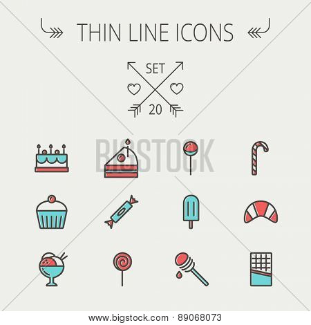 Food and drink thin line icon set for web and mobile. Set includess- cake, candy, lollipop, cupcake, ice cream, honey dipper, popsicle, waffle icons. Modern minimalistic flat design. Vector icon with
