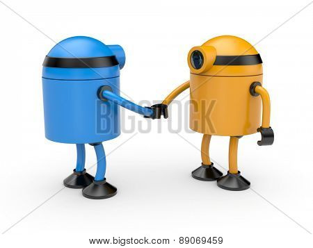 Handshake. Union of two robots