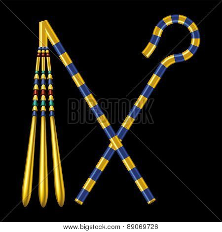 Crossed Crook And Flail Of Ancient Egypt Pharaohs