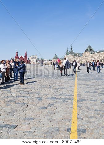 Tourists Walk In Moscow On Red Square