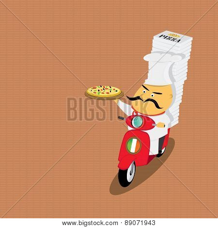 Funny italian chef delivering pizza on moped