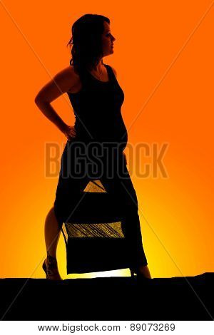 Silhouette Of A Woman Pregnant In Dress Look To Side