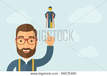 A Man pointing the man with crutches icon. A contemporary style with pastel palette, light blue cloudy sky background. Vector flat design illustration. Horizontal layout with text space on right part.