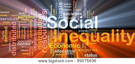 Background text pattern concept wordcloud illustration of social inequality glowing light