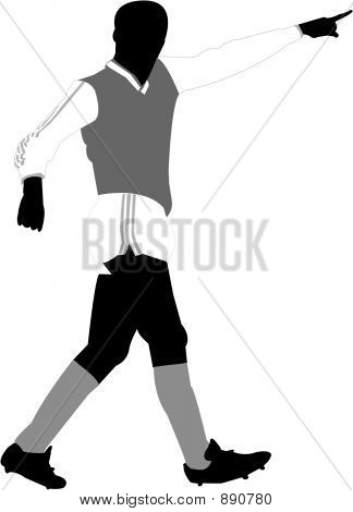 soccer player silhouette on a white background poster
