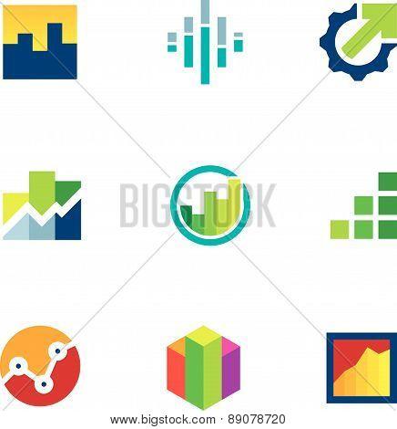 Economy finance chart bar business productivity logo icon set