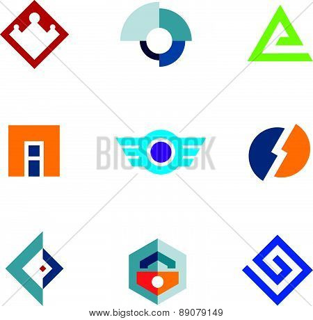 Logo trademark brand company business abstract technology icon set