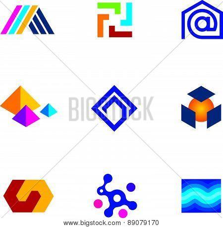 New technology innovative company app logo future network icon set poster