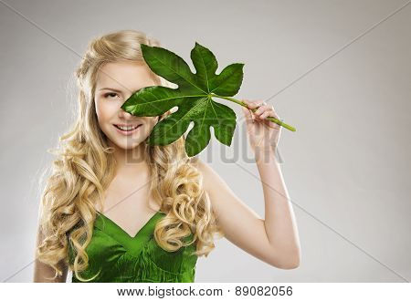 Woman Face And Green Leaf, Hair Organic Treatment And Skin Care Concept, Young Girl, Long Blond Hair