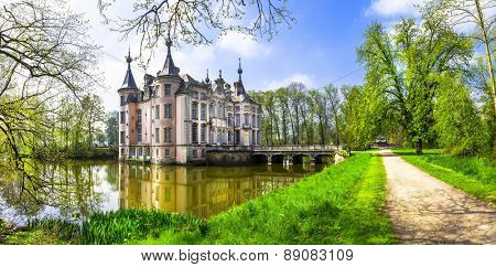 romantic castles of Europe . Poeke castle in Belgium