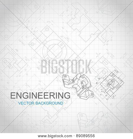 Engineering Background With Technical Drawing. Vector