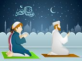 Illustration of muslim people in traditional outfit reading Namaaz, islamic prayer in front of islamic mosque for holy month of prayer, Ramadan Kareem celebration. poster