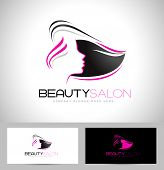 Hair Salon Logo Design. Creative abstract woman face and hair and business card template. poster