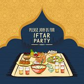 Holy month of prayer, Ramadan Kareem celebration with beautiful invitation card for Iftar party celebration. poster