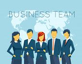 Business team, human resources. People and person, communication, businesswoman and businessman, meeting office. Vector illustration poster