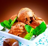 Ice cream scoops with chocolate topping. Brown chocolate icecream served with dark chocolate topping and mint poster