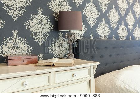 Patterned Wallpaper In Retro Interior