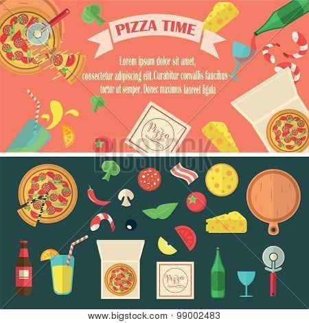 Vector Pizza Set.