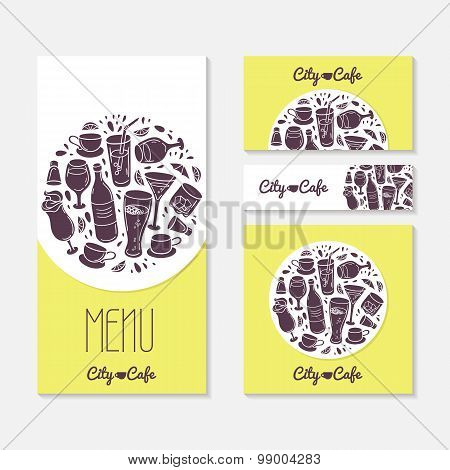 Set of identify cards templates with doodle drinks. Cafe branding.  Tamplate menu, business card, banner, flyer, poster in vector. Illustration with place for text poster